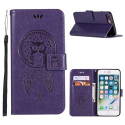 Intricate Embossing Owl Campanula Leather Wallet Case for iPhone 8 Plus / 7 Plus 7P(5.5 inch) - Purple