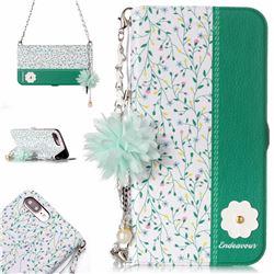 Magnolia Endeavour Florid Pearl Flower Pendant Metal Strap PU Leather Wallet Case for iPhone 8 Plus / 7 Plus 7P(5.5 inch)