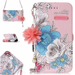 Pink Blue Rose Endeavour Florid Pearl Flower Pendant Metal Strap PU Leather Wallet Case for iPhone 8 Plus / 7 Plus 7P(5.5 inch)