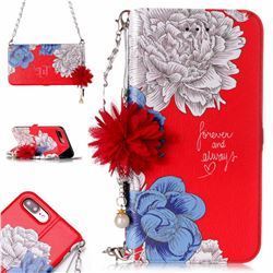 Red Chrysanthemum Endeavour Florid Pearl Flower Pendant Metal Strap PU Leather Wallet Case for iPhone 8 Plus / 7 Plus 7P(5.5 inch)