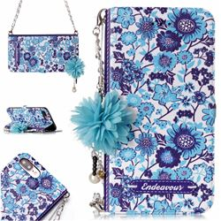 Blue-and-White Endeavour Florid Pearl Flower Pendant Metal Strap PU Leather Wallet Case for iPhone 8 Plus / 7 Plus 7P(5.5 inch)