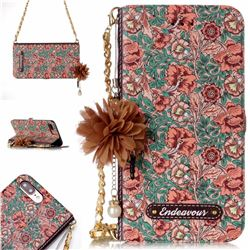 Impatiens Endeavour Florid Pearl Flower Pendant Metal Strap PU Leather Wallet Case for iPhone 8 Plus / 7 Plus 7P(5.5 inch)