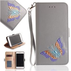 Imprint Embossing Butterfly Leather Wallet Case for iPhone 8 Plus / 7 Plus 7P(5.5 inch) - Grey
