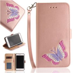 Imprint Embossing Butterfly Leather Wallet Case for iPhone 8 Plus / 7 Plus 7P(5.5 inch) - Rose Gold