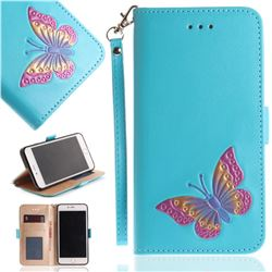 Imprint Embossing Butterfly Leather Wallet Case for iPhone 8 Plus / 7 Plus 7P(5.5 inch) - Sky Blue