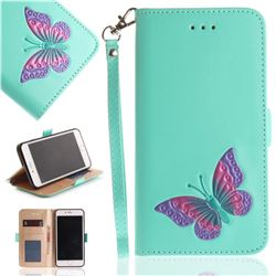 Imprint Embossing Butterfly Leather Wallet Case for iPhone 8 Plus / 7 Plus 7P(5.5 inch) - Mint Green