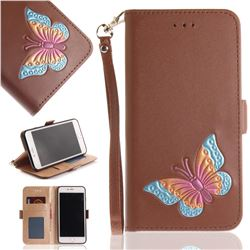 Imprint Embossing Butterfly Leather Wallet Case for iPhone 8 Plus / 7 Plus 7P(5.5 inch) - Brown