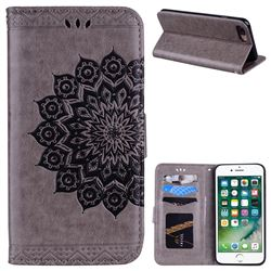 Datura Flowers Flash Powder Leather Wallet Holster Case for iPhone 8 Plus / 7 Plus 7P(5.5 inch) - Gray