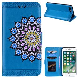 Datura Flowers Flash Powder Leather Wallet Holster Case for iPhone 8 Plus / 7 Plus 7P(5.5 inch) - Blue