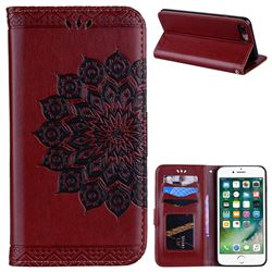 Datura Flowers Flash Powder Leather Wallet Holster Case for iPhone 8 Plus / 7 Plus 7P(5.5 inch) - Brown