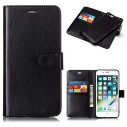 Black Detachable Smooth PU Leather Wallet Case for iPhone 8 Plus / 7 Plus 7P(5.5 inch)