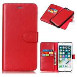 Red Detachable Smooth PU Leather Wallet Case for iPhone 8 Plus / 7 Plus 7P(5.5 inch)