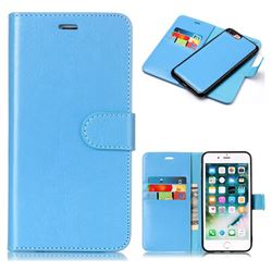 Blue Detachable Smooth PU Leather Wallet Case for iPhone 8 Plus / 7 Plus 7P(5.5 inch)