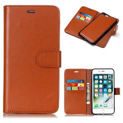 Brown Detachable Smooth PU Leather Wallet Case for iPhone 8 Plus / 7 Plus 7P(5.5 inch)
