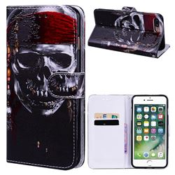 Skull Head 3D Relief Oil PU Leather Wallet Case