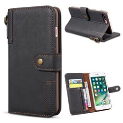 Retro Luxury Cowhide Leather Wallet Case for iPhone 8 Plus / 7 Plus 7P(5.5 inch) - Black