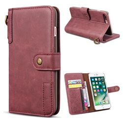 Retro Luxury Cowhide Leather Wallet Case for iPhone 8 Plus / 7 Plus 7P(5.5 inch) - Wine Red