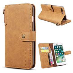 Retro Luxury Cowhide Leather Wallet Case for iPhone 8 Plus / 7 Plus 7P(5.5 inch) - Brown