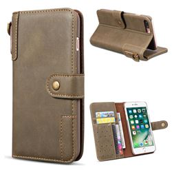 Retro Luxury Cowhide Leather Wallet Case for iPhone 8 Plus / 7 Plus 7P(5.5 inch) - Coffee