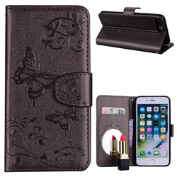 Embossing Butterfly Morning Glory Mirror Leather Wallet Case Silver Gray