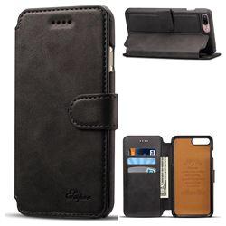 Suteni Calf Stripe Leather Wallet Flip Phone Case for iPhone 8 Plus / 7 Plus 7P(5.5 inch) - Black