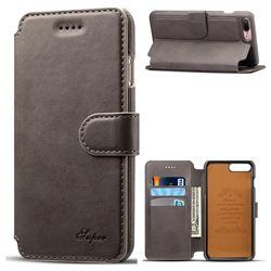 Suteni Calf Stripe Leather Wallet Flip Phone Case for iPhone 8 Plus / 7 Plus 7P(5.5 inch) - Gray