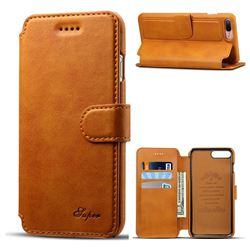 Suteni Calf Stripe Leather Wallet Flip Phone Case for iPhone 8 Plus / 7 Plus 7P(5.5 inch) - Khaki