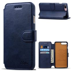 Suteni Calf Stripe Leather Wallet Flip Phone Case for iPhone 8 Plus / 7 Plus 7P(5.5 inch) - Blue