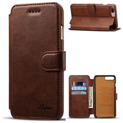 Suteni Calf Stripe Leather Wallet Flip Phone Case for iPhone 8 Plus / 7 Plus 7P(5.5 inch) - Brown