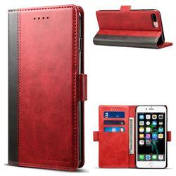 Suteni Calf Stripe Dual Color Leather Wallet Flip Case for iPhone 8 Plus / 7 Plus 7P(5.5 inch) - Red