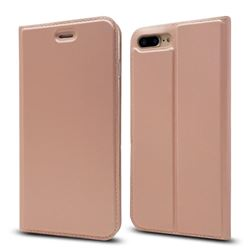 Ultra Slim Card Magnetic Automatic Suction Leather Wallet Case for iPhone 8 Plus / 7 Plus 7P(5.5 inch) - Rose Gold