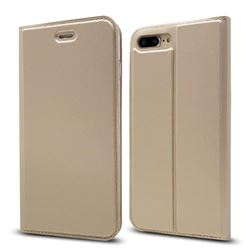 Ultra Slim Card Magnetic Automatic Suction Leather Wallet Case for iPhone 8 Plus / 7 Plus 7P(5.5 inch) - Champagne