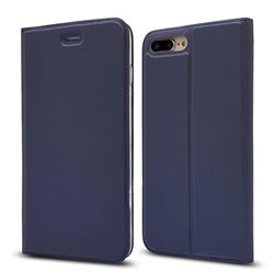 Ultra Slim Card Magnetic Automatic Suction Leather Wallet Case for iPhone 8 Plus / 7 Plus 7P(5.5 inch) - Royal Blue
