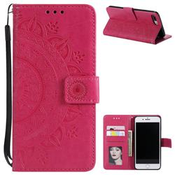 Intricate Embossing Datura Leather Wallet Case for iPhone 8 Plus / 7 Plus 7P(5.5 inch) - Rose Red