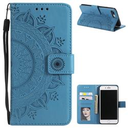 Intricate Embossing Datura Leather Wallet Case for iPhone 8 Plus / 7 Plus 7P(5.5 inch) - Blue