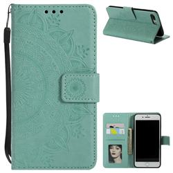 Intricate Embossing Datura Leather Wallet Case for iPhone 8 Plus / 7 Plus 7P(5.5 inch) - Mint Green