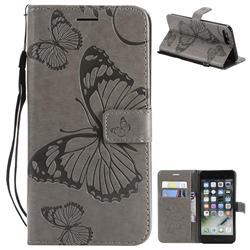 Embossing 3D Butterfly Leather Wallet Case for iPhone 8 Plus / 7 Plus 7P(5.5 inch) - Gray