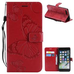 Embossing 3D Butterfly Leather Wallet Case for iPhone 8 Plus / 7 Plus 7P(5.5 inch) - Red