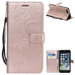 Embossing 3D Butterfly Leather Wallet Case for iPhone 8 Plus / 7 Plus 7P(5.5 inch) - Rose Gold