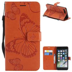 Embossing 3D Butterfly Leather Wallet Case for iPhone 8 Plus / 7 Plus 7P(5.5 inch) - Orange