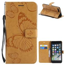 Embossing 3D Butterfly Leather Wallet Case for iPhone 8 Plus / 7 Plus 7P(5.5 inch) - Yellow