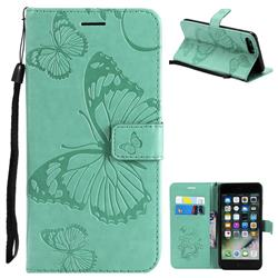 Embossing 3D Butterfly Leather Wallet Case for iPhone 8 Plus / 7 Plus 7P(5.5 inch) - Green