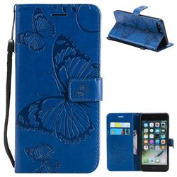 Embossing 3D Butterfly Leather Wallet Case for iPhone 8 Plus / 7 Plus 7P(5.5 inch) - Blue