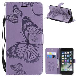 Embossing 3D Butterfly Leather Wallet Case for iPhone 8 Plus / 7 Plus 7P(5.5 inch) - Purple