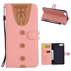 Ladies Bow Clothes Pattern Leather Wallet Phone Case for iPhone 8 Plus / 7 Plus 7P(5.5 inch) - Pink
