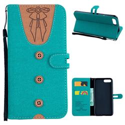 Ladies Bow Clothes Pattern Leather Wallet Phone Case for iPhone 8 Plus / 7 Plus 7P(5.5 inch) - Green