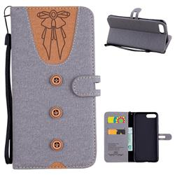Ladies Bow Clothes Pattern Leather Wallet Phone Case for iPhone 8 Plus / 7 Plus 7P(5.5 inch) - Gray