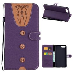Ladies Bow Clothes Pattern Leather Wallet Phone Case for iPhone 8 Plus / 7 Plus 7P(5.5 inch) - Purple