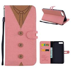 Mens Button Clothing Style Leather Wallet Phone Case for iPhone 8 Plus / 7 Plus 7P(5.5 inch) - Pink