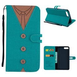 Mens Button Clothing Style Leather Wallet Phone Case for iPhone 8 Plus / 7 Plus 7P(5.5 inch) - Green